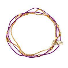 muses & rebels thread & chain wrap bracelet - purple iris http://musesandrebels.com/shop/thread-chain-wrap-bracelet-purple-iris.html