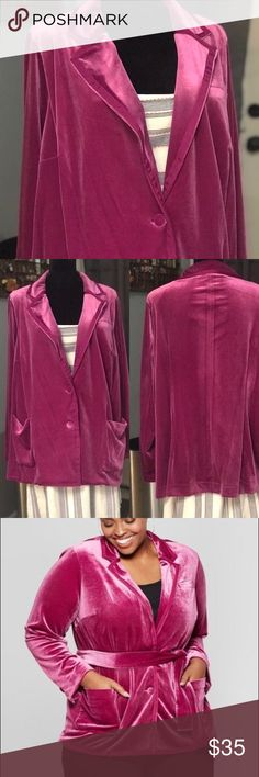 9840957d312 NWT Ava  amp  Viv Berry Pink Velvet Blazer NO BELT Show off your simple but