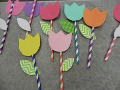 May Day baskets - use straws to make flowers to tuck into the baskets and CTP's Lime Green Chevron Border as the leaves.