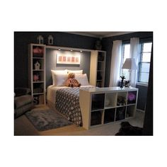 Tween to Teen Bedroom ideas / instead if a headboard...... bookshelves... ❤ liked on Polyvore