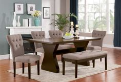 6 PC Acme Furniture Light Brown Effie Collection Dining Room Table Set 71515