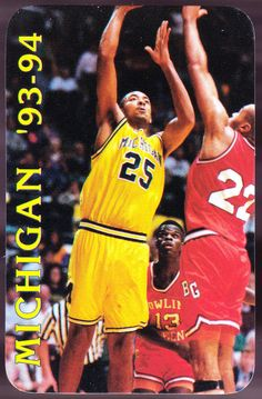 1993-94 MICHIGAN WOLVERINES BASKETBALL POCKET SCHEDULE JUWANN HOWARD ON COVER…