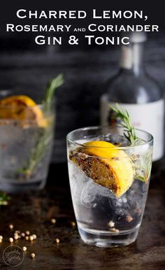 This Charred Lemon, Rosemary and Coriander Gin & Tonic is something special! The flavours are so perfectly balanced and it makes a very beautiful start to the evening/afternoon. Recipe by Sprinkles and Sprouts | Delicious food for Easy Entertaining