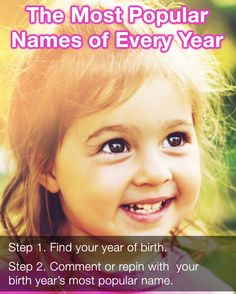 The Most Popular Baby Name Of Every Year Since 1915 #babynameideas
