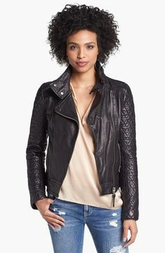 Mackage Quilted Sleeve Leather Moto Jacket available at #Nordstrom