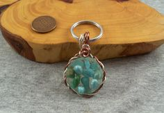 Floating turquoise Key Fob and Ring Copper Wire, Gender Neutral, Key Rings, Pretty Little, Inventions, Unique Gifts, Jewelry Design, Turquoise, Unisex