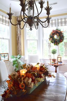 For an elegant centerpiece, place our Fall Harvest Garland in a vintage toolbox and add Miracle Flame Pillar Candles for a warm glow. Fall Home Decor, Autumn Home, Flameless Candles, Pillar Candles, Elegant Centerpieces, Table Centerpieces, Table Decorations, Battery Powered Led Lights, Balsam Hill