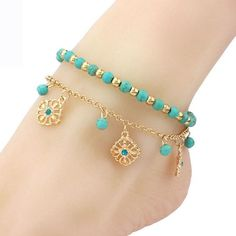 Turquoise Beads Flower Crystal Anklets Sexy Star Ankle Bracelet Beach Foot