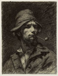Gustave Courbet, Self-Portrait (The Man with the Pipe), c. 1849. Black chalk on paper. Purchased through the gift of James Junius Goodwin. 1950.605