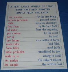 Latin legal terms every future lawyer should know before stepping into law school. Lawyer Quotes, Lawyer Humor, Law Notes, Lsat Prep, Law School Humor, College Problems, Teaching Supplies, Latin Phrases, Criminal Law