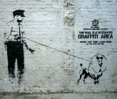 London, England Discover Banksy's 'Designated Graffiti Area' in : Banksy gives himself artistic license with this piece of London street art. Banksy Graffiti, Street Art Banksy, Banksy Canvas, Stencil Graffiti, Bansky, Banksy Artist, Banksy Prints, Banksy Artwork, Graffiti Artists