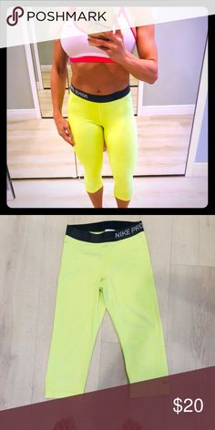 e50a1f0fcdf8 Bright yellow Nike pro crop pants These are eye Catching bright yellow crop  Nike pro pants with gray trim . Great for the gym