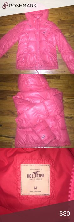 Puffer coat hollister Hollister coat peach color size med Hollister Jackets & Coats Puffers