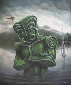 Tiki figure standing in Lake Brunner looking at dragonfly by Liam Barr Example Of News, New Zealand Art, Nz Art, Witch Doctor, Maori Art, Weird Art, Limited Edition Prints, Lion Sculpture, Landscape