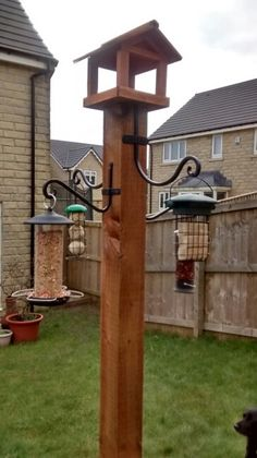Homemade bird feeding station …