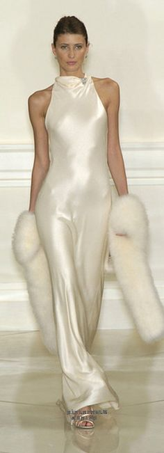 Ralph Lauren ~ White Satin Sleeveless Gown 2015
