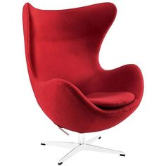 Modway Furniture Glove Wool Lounge Chair Red By ($1,374) ❤ liked on Polyvore featuring home, furniture, chairs, organic furniture, red lounge chair, organic chair, red chair and red furniture