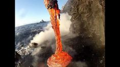 Rare up close footage of Lava entering the ocean. volcanic coastline on the island of Hawaii