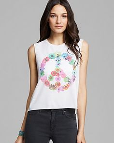 CHASER Tank - Flower Child Peace Muscle Crop   Bloomingdale's