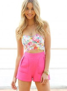 Floral Print Strapless Bustier Crop Top with Cutout Detail