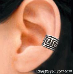 Greek Key Ear Cuffs, Sterling Silver earrings, earcuff clip, Unique Jewelry for men or women, Right, Left or Pair