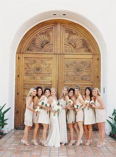 Mismatched neutral bridesmaids with some sparkle   Citrus Inspired Destination Wedding at La Quinta Resort