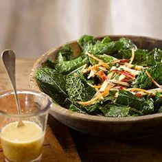 Emerald-green lacinato kale is the star of this healthy kale salad, tossed with an easy maple, mustard and apple cider vinaigrette and studded with crisp apples.