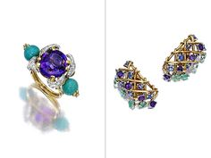 Estimate: Ring, $8,000-$12,000; Earrings, $7,000-$9,000 ~ Lauren Bacall loved this amethyst, turquoise and diamond ring (left), says Jon King of New York's Bonhams auction house. She was a fan of French designer Jean Schlumberger, who created it. The coordinating gems on the Schlumberger earrings (right) were designed to move with her as she moved.