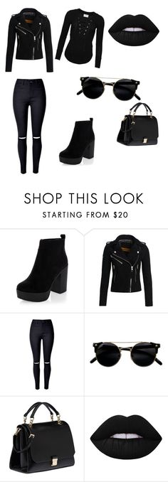 """""""Blackout⚫️"""" by xbbygirlbrix ❤ liked on Polyvore featuring New Look, Superdry, WithChic, Miu Miu and Lime Crime"""