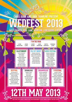 wedfest festival names poster wedding seating plan poster