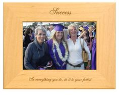 Looking for that perfect graduation gift for a loved one? This personalized graduation frame is the ideal way for your loved one to remember their accomplishment. This engraved Alderwood frame from Gift Works Plus is personalized an inspiring quote. College Graduation, Graduation Frames, Personalized Graduation Gifts, Yet To Come, Picture Frame, High School, Success, Celebrities, Unique