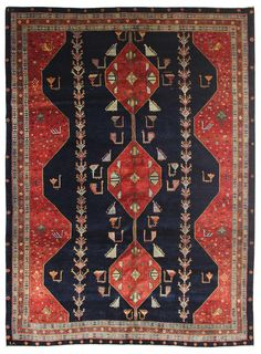 Geometric Oriental Rugs Gallery: Persian Luri Rug, Hand-knotted in Persia; size: 7 feet 4 inch(es) x 10 feet 2 inch(es) Persian Pattern, Persian Motifs, Persian Rug, Textile Patterns, Textile Art, Oriental Rugs, Modern Rugs, Tapestries, Tribal Rug