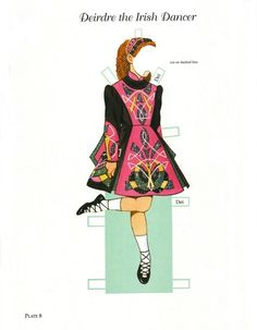 """""""Deirdre, the Irish Dancer:  Little Dancers Paper Dolls"""" by Tom Tierney; Dover Publications Inc., 2002 (Plate 8 of 54). This doll/outfits were previously published as """"Irish Dancer Paper Doll,"""" 1999."""