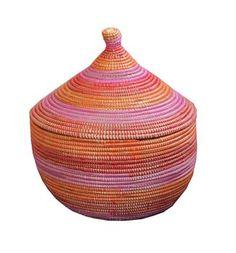 Rieten mand tahine roze-rood-oranje