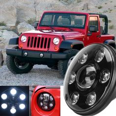 "2PC Black 7 Inch Round Headlight For Jeep Wrangler 97-15 7"" LED Headlight Headlamp With H4 High Low For Hummer Toyota Land Rover"
