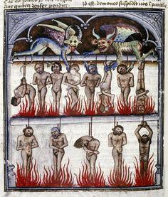 DEMONIC SMOKEHOUSE    Livre de la Vigne nostre Seigneur, France ca. 1450-1470.    Bodleian, MS. Douce 134, fol. 121v