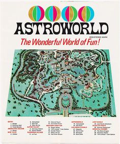 ASTROWORLD: 1968 Brochure (Inside Map)   by RetroLand U.S.A. Map Wallpaper, Photo Wallpaper, Astroworld Houston, Vintage Posters, Vintage Photos, Travis Scott Astroworld, Texas History, Tour Posters, My Heritage