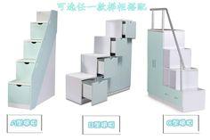 trap voor een hoog bed met opbergruimte voor kleding