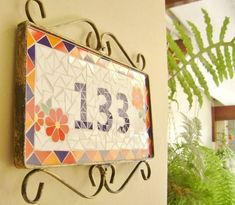 N meros de casa en mosaico on pinterest house numbers for Azulejo numero casa