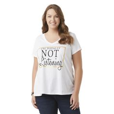 Joe Boxer Plus Size Junior's Plus Graphic T-Shirt - Not Listening