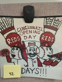 Why do I like Mondays more now? Because I get to remove THREE Post-its instead of one! 42 days til @Reds #OpeningDay