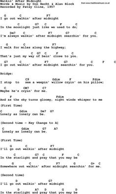Rock and pop song lyrics with chords for Walkin' After Midnight - Patsy Cline, 1957 Ukulele Songs, Ukulele Chords, Music Guitar, Playing Guitar, Acoustic Guitar, Mandolin Songs, Learning Guitar, Music Music, Pop Song Lyrics