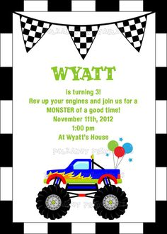Love these Monster Truck Birthday Invitations by StellarDesignsPro