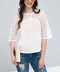 Another great find on #zulily! Ecru Lace Three-Quarter Sleeve Top #zulilyfinds