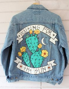 Painted Denim Jacket, Painted Jeans, Painted Clothes, Diy Clothing, Custom Clothes, Demin Jacket, Diy Vetement, Diy Fashion, Grunge