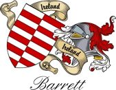 Barrett Irish Sept Coat of Arms from the website  www.4crests.com #coatofarms #familycrest #familycrests #coatsofarms #heraldry #family #genealogy #familyreunion #names #history #medieval #codeofarms #familyshield #shield #crest #clan #badge #tattoo