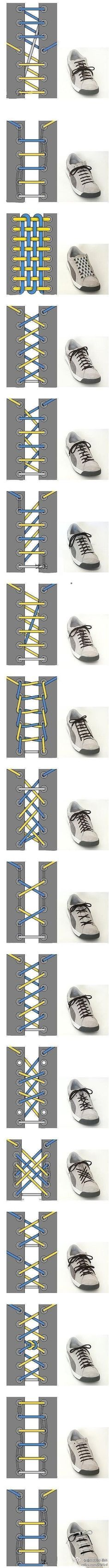 Lace it up... various styles to lace shoes with easy illustrations..