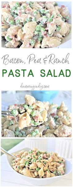 Easy Creamy Bacon Pea and Ranch Pasta Salad Side Dish Recipe Family Favorite - N. Easy Creamy Bacon Pea and Ranch Pasta Salad Side Dish Recipe Family Favorite - No chopping, dicing or waiting required. Ready in 15 minutes . Barbecue Side Dishes, Barbecue Sides, Side Dishes Easy, Side Dish Recipes, Cold Side Dishes, Picnic Side Dishes, Supper Recipes, Barbecue Recipes, Side Dish For Potluck