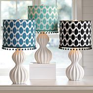 Ikat Dot Shade.  Black would be darling with a brushed silver base on chest in hallway