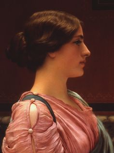 "Painting of the Day! John William Godward (1861-1922) ""A Classical Beauty"" Oil on Canvas To see more work by this artist please visit us at: http://www.artrenewal.org/pages/artwork.php?artworkid=28424&size=large"